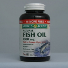 Fish Oil - Natural 1000mg 120 (+15 free) Softgels Each - 3 Pack